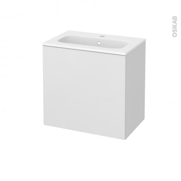Meuble de salle de bains - Plan vasque REZO - GINKO Blanc - 1 porte - Côtés décors - L60,5 x H58,5 x P40,5 cm