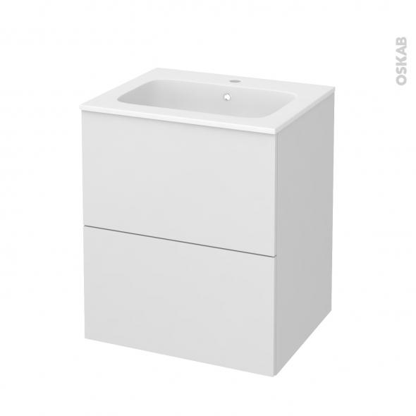 Meuble de salle de bains - Plan vasque REZO - GINKO Blanc - 2 tiroirs - Côtés décors - L60,5 x H71,5 x P50,5 cm