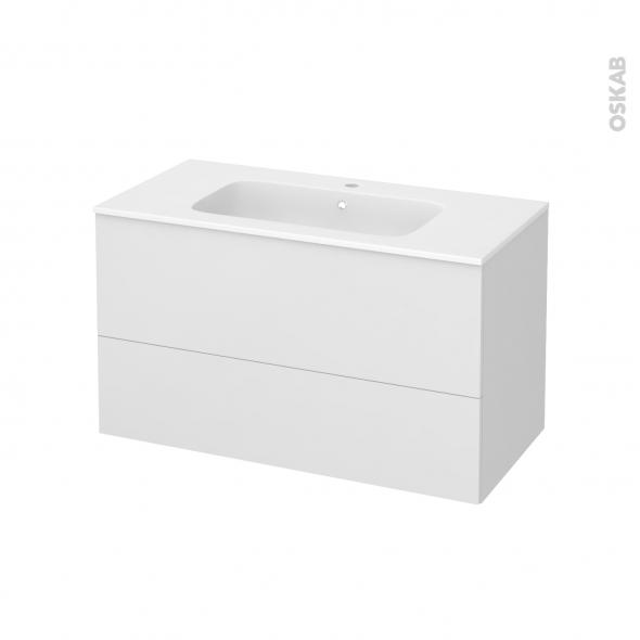 Meuble de salle de bains - Plan vasque REZO - GINKO Blanc - 2 tiroirs - Côtés décors - L100,5 x H58,5 x P50,5 cm