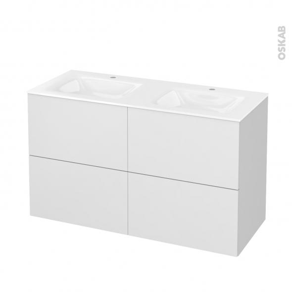 Meuble de salle de bains - Plan double vasque VALA - GINKO Blanc - 4 tiroirs - Côtés décors - L120,5 x H71,2 x P50,5 cm