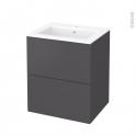 Meuble de salle de bains - Plan vasque NAJA - GINKO Gris - 2 tiroirs - Côtés décors - L60,5 x H71,5 x P50,5 cm