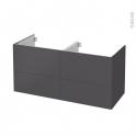 Meuble de salle de bains - Sous vasque double - GINKO Gris - 4 tiroirs - Côtés décors - L120 x H57 x P50 cm