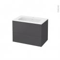 Meuble de salle de bains - Plan vasque REZO - GINKO Gris - 2 tiroirs - Côtés décors - L80,5 x H58,5 x P50,5 cm