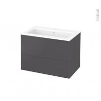 Meuble de salle de bains - Plan vasque NAJA - GINKO Gris - 2 tiroirs - Côtés décors - L80,5 x H58,5 x P50,5 cm