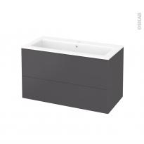 Meuble de salle de bains - Plan vasque NAJA - GINKO Gris - 2 tiroirs - Côtés décors - L100,5 x H58,5 x P50,5 cm