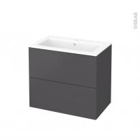 Meuble de salle de bains - Plan vasque NAJA - GINKO Gris - 2 tiroirs - Côtés décors - L80,5 x H71,5 x P50,5 cm