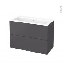 Meuble de salle de bains - Plan vasque NAJA - GINKO Gris - 2 tiroirs - Côtés décors - L100,5 x H71,5 x P50,5 cm