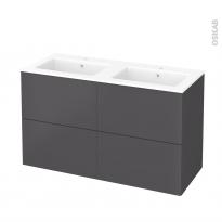 Meuble de salle de bains - Plan double vasque NAJA - GINKO Gris - 4 tiroirs - Côtés décors - L120,5 x H71,5 x P50,5 cm