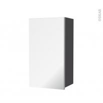Armoire de salle de bains - Rangement haut - GINKO Gris - 1 porte miroir - Côtés décors - L40 x H70 x P27 cm