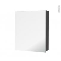 Armoire de toilette - Rangement haut - GINKO Gris - 1 porte miroir - Côtés décors - L60 x H70 x P17 cm