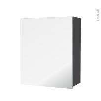 Armoire de salle de bains - Rangement haut - GINKO Gris - 1 porte miroir - Côtés décors - L60 x H70 x P27 cm