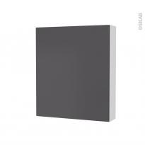 Armoire de toilette - Rangement haut - GINKO Gris - 1 porte - Côtés blancs - L60 x H70 x P17 cm