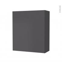 Armoire de salle de bains - Rangement haut - GINKO Gris - 1 porte - Côtés décors - L60 x H70 x P27 cm