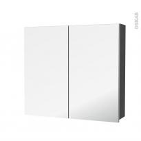 Armoire de toilette - Rangement haut - GINKO Gris - 2 portes miroir - Côtés décors - L80 x H70 x P17 cm