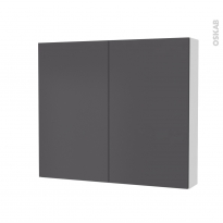 Armoire de toilette - Rangement haut - GINKO Gris - 2 portes - Côtés blancs - L80 x H70 x P17 cm
