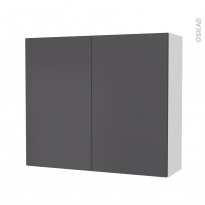 Armoire de salle de bains - Rangement haut - GINKO Gris - 2 portes - Côtés blancs - L80 x H70 x P27 cm