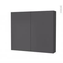Armoire de toilette - Rangement haut - GINKO Gris - 2 portes - Côtés décors - L80 x H70 x P17 cm