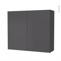 Armoire de salle de bains - Rangement haut - GINKO Gris - 2 portes - Côtés décors - L80 x H70 x P27 cm