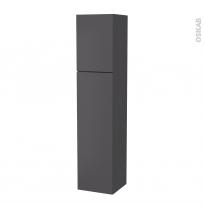 Colonne de salle de bains - 2 portes - GINKO Gris - Côtés décors - Version A - L40 x H182 x P40 cm