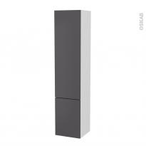 Colonne de salle de bains - 2 portes - GINKO Gris - Côtés blancs - Version B - L40 x H182 x P40 cm