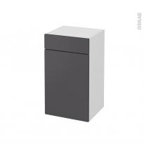 Meuble de salle de bains - Rangement bas - GINKO Gris - 1 porte 1 tiroir - L40 x H70 x P37 cm