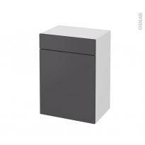 Meuble de salle de bains - Rangement bas - GINKO Gris - 1 porte 1 tiroir - L50 x H70 x P37 cm