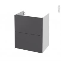 Meuble de salle de bains - Sous vasque - GINKO Gris - 2 tiroirs - Côtés blancs - L60 x H70 x P40 cm