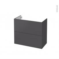 Meuble de salle de bains - Sous vasque - GINKO Gris - 2 tiroirs - Côtés décors - L80 x H70 x P40 cm