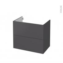 Meuble de salle de bains - Sous vasque - GINKO Gris - 2 tiroirs - Côtés décors - L80 x H70 x P50 cm