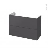 Meuble de salle de bains - Sous vasque - GINKO Gris - 2 tiroirs - Côtés décors - L100 x H70 x P40 cm