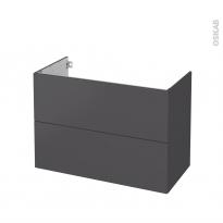 Meuble de salle de bains - Sous vasque - GINKO Gris - 2 tiroirs - Côtés décors - L100 x H70 x P50 cm