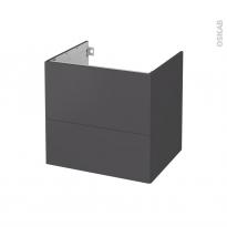 Meuble de salle de bains - Sous vasque - GINKO Gris - 2 tiroirs - Côtés décors - L60 x H57 x P50 cm