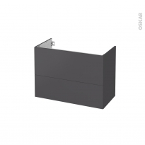 Meuble de salle de bains - Sous vasque - GINKO Gris - 2 tiroirs - Côtés décors - L80 x H57 x P40 cm