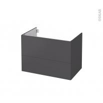 Meuble de salle de bains - Sous vasque - GINKO Gris - 2 tiroirs - Côtés décors - L80 x H57 x P50 cm