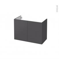 Meuble de salle de bains - Sous vasque - GINKO Gris - 2 portes - Côtés décors - L80 x H57 x P40 cm