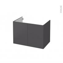 Meuble de salle de bains - Sous vasque - GINKO Gris - 2 portes - Côtés décors - L80 x H57 x P50 cm