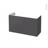 Meuble de salle de bains - Sous vasque - GINKO Gris - 2 tiroirs - Côtés décors - L100 x H57 x P40 cm