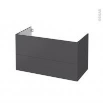 Meuble de salle de bains - Sous vasque - GINKO Gris - 2 tiroirs - Côtés décors - L100 x H57 x P50 cm