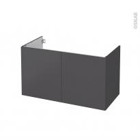 Meuble de salle de bains - Sous vasque - GINKO Gris - 2 portes - Côtés décors - L100 x H57 x P50 cm