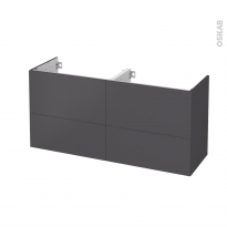 Meuble de salle de bains - Sous vasque double - GINKO Gris - 4 tiroirs - Côtés décors - L120 x H57 x P40 cm