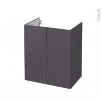 Meuble de salle de bains - Sous vasque - GINKO Gris - 2 portes - Côtés décors - L60 x H70 x P40 cm