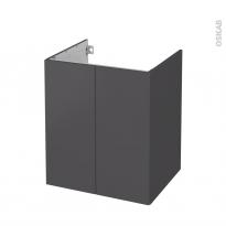 Meuble de salle de bains - Sous vasque - GINKO Gris - 2 portes - Côtés décors - L60 x H70 x P50 cm