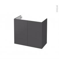 Meuble de salle de bains - Sous vasque - GINKO Gris - 2 portes - Côtés décors - L80 x H70 x P40 cm