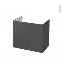 Meuble de salle de bains - Sous vasque - GINKO Gris - 2 portes - Côtés décors - L80 x H70 x P50 cm