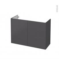 Meuble de salle de bains - Sous vasque - GINKO Gris - 2 portes - Côtés décors - L100 x H70 x P40 cm