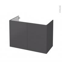 Meuble de salle de bains - Sous vasque - GINKO Gris - 2 portes - Côtés décors - L100 x H70 x P50 cm