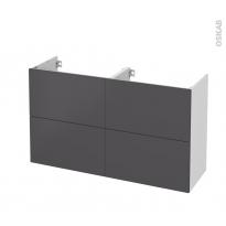 Meuble de salle de bains - Sous vasque double - GINKO Gris - 4 tiroirs - Côtés blancs - L120 x H70 x P40 cm