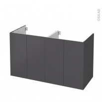 Meuble de salle de bains - Sous vasque double - GINKO Gris - 4 portes - Côtés décors - L120 x H70 x P50 cm