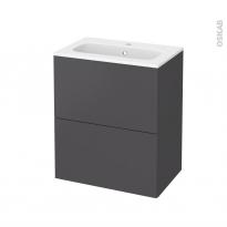 Meuble de salle de bains - Plan vasque REZO - GINKO Gris - 2 tiroirs - Côtés décors - L60,5 x H71,5 x P40,5 cm
