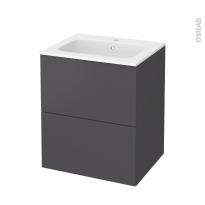 Meuble de salle de bains - Plan vasque REZO - GINKO Gris - 2 tiroirs - Côtés décors - L60,5 x H71,5 x P50,5 cm